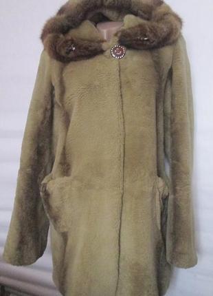 Шуба,шубка полушубок,капюшон, натуральный мех стриженный бобер,норка,норковая,46-48 р