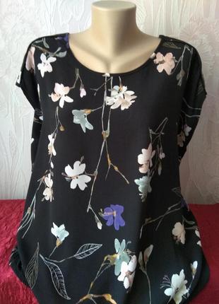Блузон футболка майка с цветочным принтом из натуральной ткани