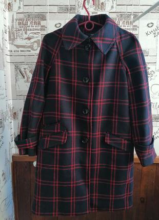 Шерстяное драповое пальто в клетку h&m