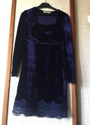 Вечернее нарядное платье облегающее длинный рукав бархатное мини