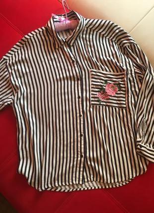 Шикарная рубашка оверсайз в полоску с вышивкой h&m divided