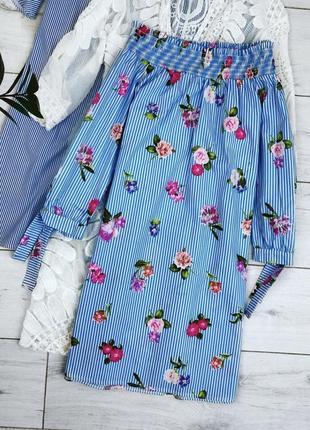 Синие платье в розы на плечи