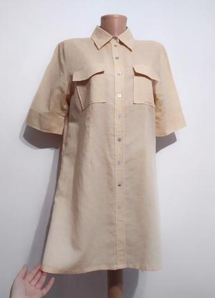 Премиум класс! льняная рубашка туника стиль сафари кежуал, fabrisio a. l-xl италия