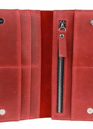 Кожаный красный кошелек на магнитах
