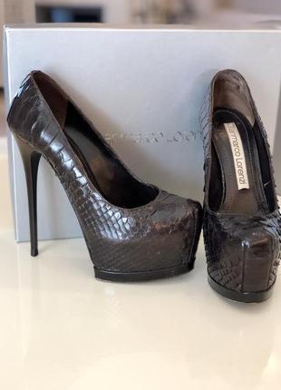 Брендовые оригинальные туфли из кожи питона {чешуя} gianmarco lorenzi