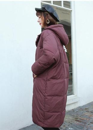 Новое пальто оверсайз кокон летучая мышь большой размер осень-зима бордовое
