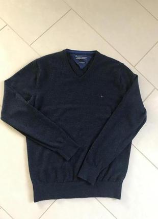 Пуловер шерстяной мужской стильный модный дорогой бренд tommy hilfiger размер l
