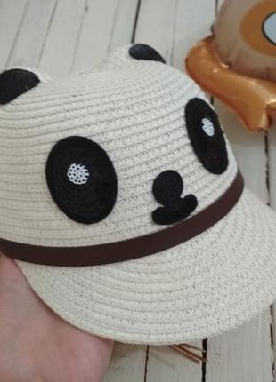 Стильная кепка для девочек панда с пайетками