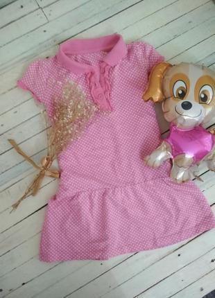 Розовая туника - поло в горошек для девочки mothercare