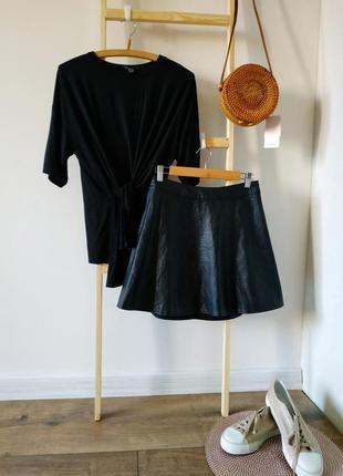 Кожаная юбка клеш h&m