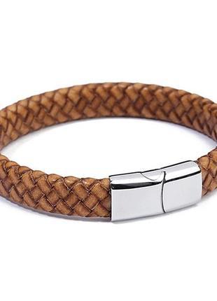 Кожаный плетеный браслет «bb2»