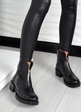 Рр 36-41 осень(зима)натуральная кожа стильные черные ботинки