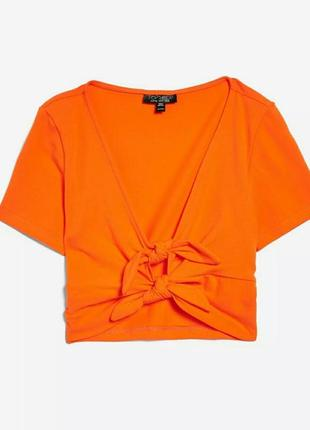 Яркая футболка с завязками,  кроп топ,  топ