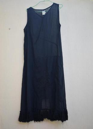 Прозрачное черное платье длинное бохо