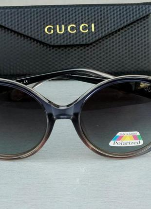 Gucci очки женские солнцезащитные поляризированые серо розовые