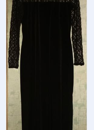 Нарядное длинное бархатное стрейчевое платье р. 50