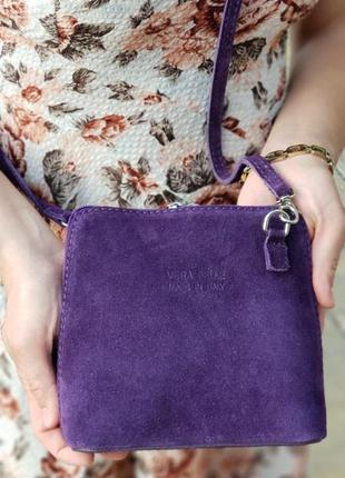 Замшевый фиолетовый клатч италия разные цвета
