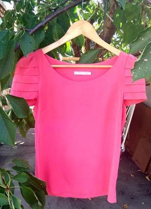 Блуза розовая из 100% шелка,шелковый топ.