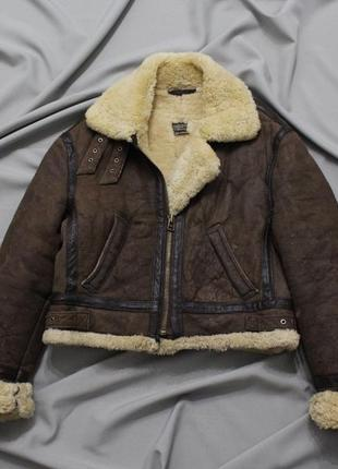 Куртка-пилот/vintage itinerance b-3 shearling sheepskin leather flying bomber jacket