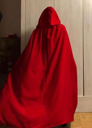 Ярко красный плащ  с капюшеном лен жатка, льняная красная накидка с капюшеном