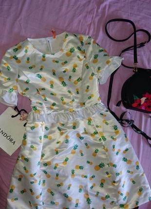 Сатиновое платье беби долл imperial ананасы с-м