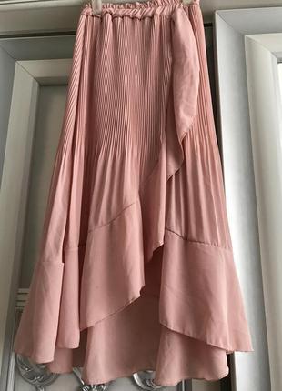 Женская плиссированная юбка пудрового цвета {италия} размер m-l