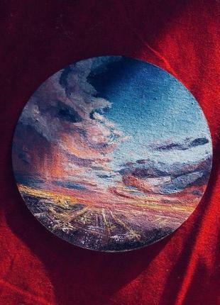 Рисунок (пейзаж) в багетной рамке на холсте