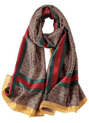 Длинный шелковый шарф палантин под гучи