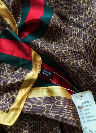 Длинный шелковый шарф палантин под гучи2 фото