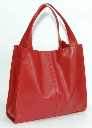 Кожаная вместительная красная женская сумка, разные цвета