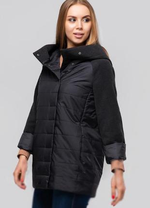 Черная осенняя куртка короткая (42-54)