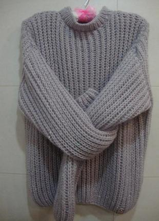 Объемный вязаный свитерок с пайетками, размер s hand made
