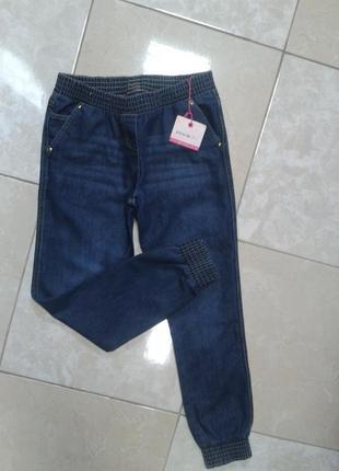 Удобные джинсы джоггеры пояс на резинке 9-10 лет италия  ovs