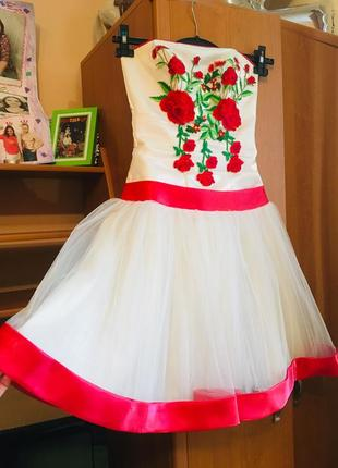Платье сукня плаття атлас фатін фатінове плаття фатиновое платье вишивка балерина