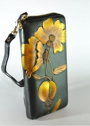 Женский кожаный кошелек с технологией rfid разные цвета