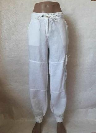 Фирменные sisley белоснежные брючки с резинкой внизу со 100 % льна, размер л-ка