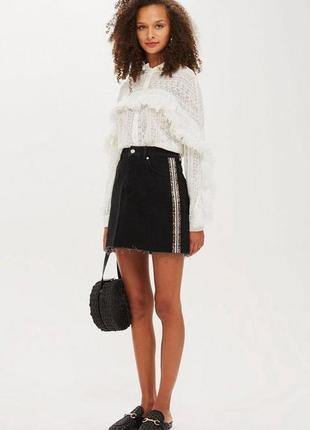 Джинсовая юбка с лампасами высокая посадка