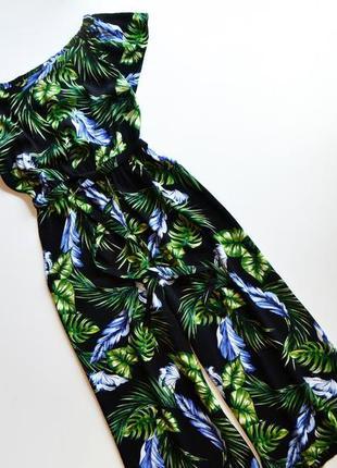 Стильное платье с кюлотами в принт цветы