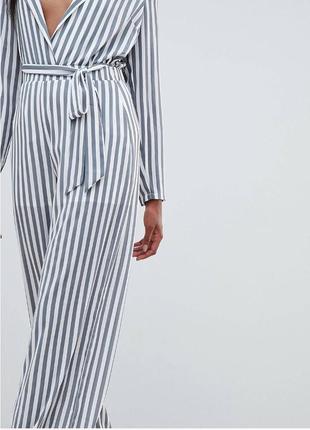 Широкие брюки в полоску из шифона missguided, свободные брюки в полоску с высокой талией
