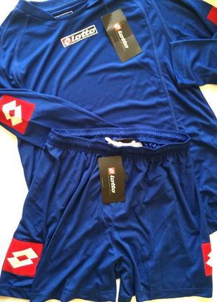 Синий спортивный костюм lotto на длинный рукав с шортами, футбольная форма