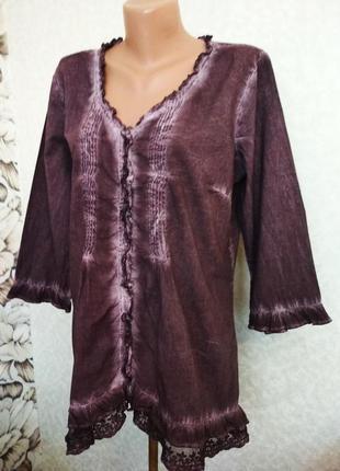 Блуза варёнка, хлопок, кружево. 1+1= 50% скидки на 3ю вещь.