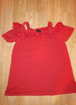 Женская нарядная футболка с рюшой камнями распродажа