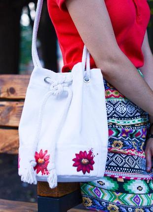 Сумка-мешок с цветами