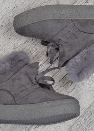 Ботинки женские зимние prima d'arte на платформе серые с опушкой на молнии