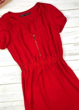 Легкое платье-мини zara basic сочного красного цвета