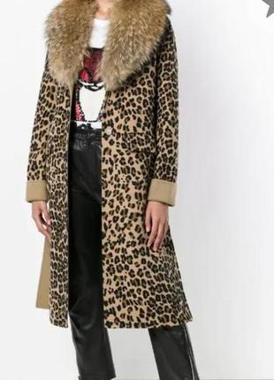 Леопардовое пальто из натуральных мехов1 фото