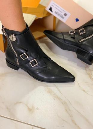 Ботинки кожаные женские черные встиле louis vuitton луи витон