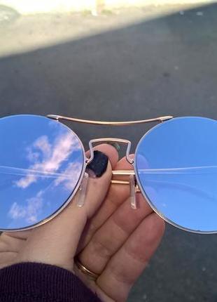 Модные круглые очки с розовой линзой