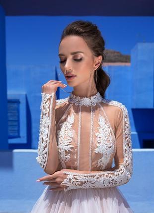 _elena vasylkova _весільна сукня з верхом на тілесній сіточці