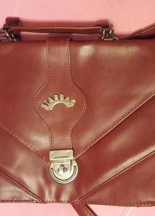 Сумка moschino star bag коричневая сумка